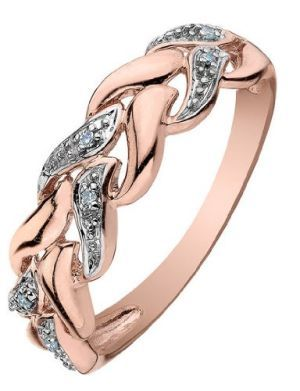 Pink gold diamond ring... i like the idea of this but think it'd look better if it was actually braided