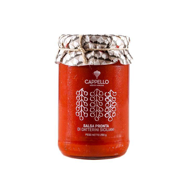 Salsa di Pomodoro Datterino Siciliano Cappello. Sugo artigianale tipico della tradizione gastronomica siciliana. Ha colore rosso intenso, consistenza cremosa, gusto dolce e persistente.