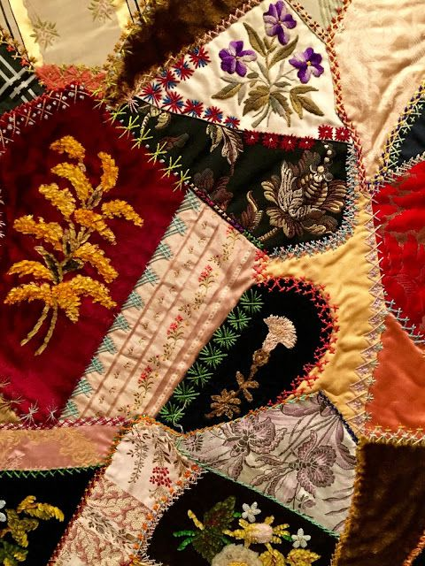 Victorian Era embroidery stitches on Victorian Crazy Quilt.  [Telling Stories Through the Needle's Eye]