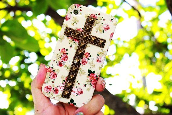 Vintage Flower Rose Cross Studded Cute iPhone 4S Cases For Girls
