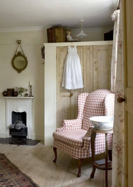 Sweet little country farmhouse...love the tiny fireplace!