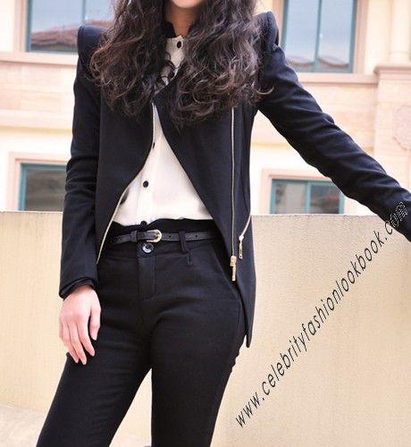 Asymmetrical Fitted Jacket - TeenFashion  US$49.99  #fashion #jackets #teens #work #black