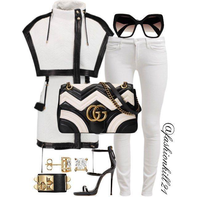 BlackxWhite DETAILS: Jacket #Balmain Frames #Prada Jeans #7forallmankind Purse #Gucci Shoes #Giuseppezanotti #styledbyfashionkill21