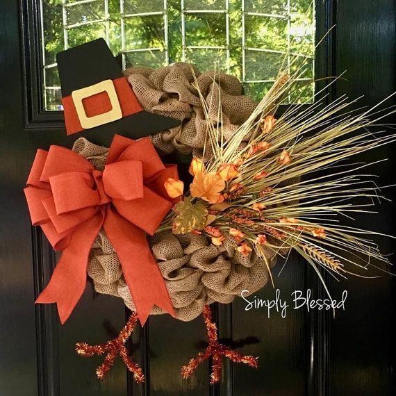 Fall Thanksgiving Turkey Burlap Wreath  by SimplyBlessedGift