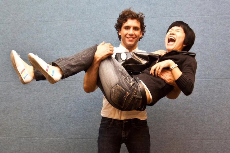 Mika and a fan he picked up Singapore June 2010