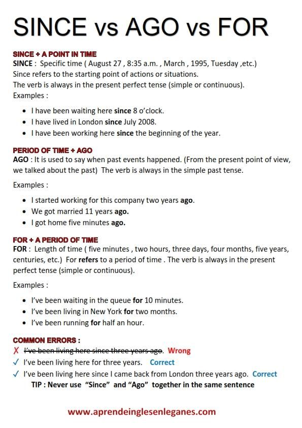 SINCE vs AGO vs FOR Prepositions of time. English