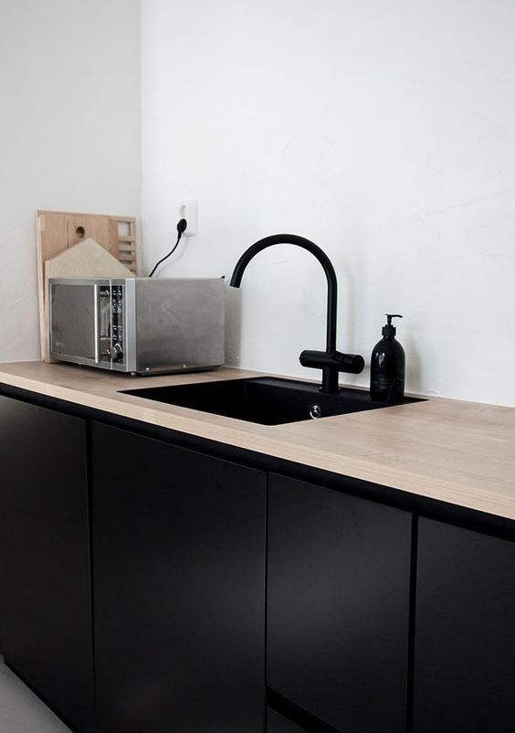 black kitchen with wooden top: