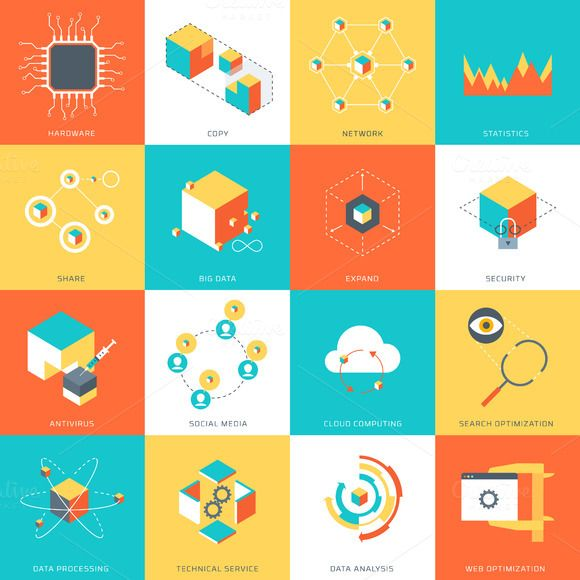 Data Theme icon set by howcolour on Creative Market