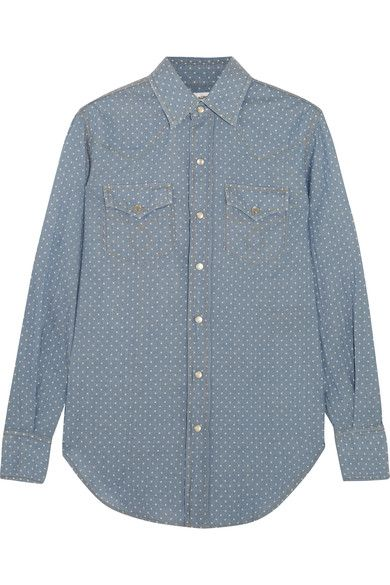 Saint Laurent - Polka-dot Cotton-chambray Shirt - Light denim -