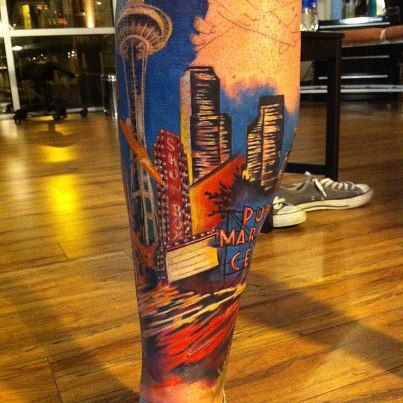 Seattle landmark tattoo (in progress) by Justin Johnson at Seattle Ink & Oil. Color tattoo, Seattle tattoo, Seattle skyline, Pike Place Market, Space Needle tattoo