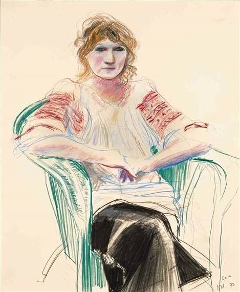 David Hockney Celia in a green chair