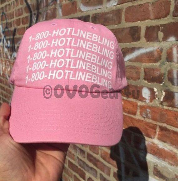 1 800 HOTLINE BLING Cap Drake Hat ovo Pink Cap UNISEX by OVOGEAR4U