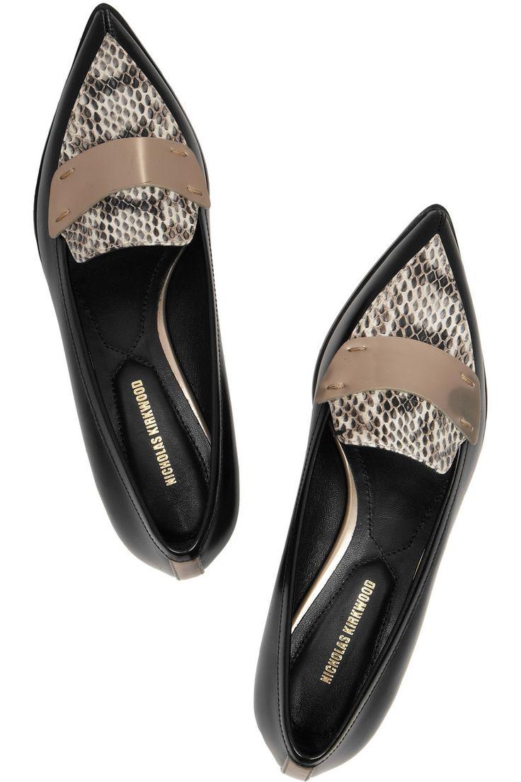 Nicholas Kirkwood | Chaussures plates à bouts pointus en cuir et élaphe | NET-A-PORTER.COM