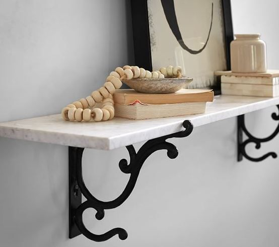 Pottery Barn Marble Shelf With Bronze Metal Brackets