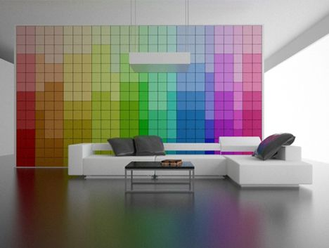 Feeling dark? Switch from colorful rainbow patterns to a pitch black surface in seconds. Want a bit of a flavorful accent? Spin the wheels again to display words or patterns of your choice. ??This ingenious pixel-perfect wall design renders paint redundant.
