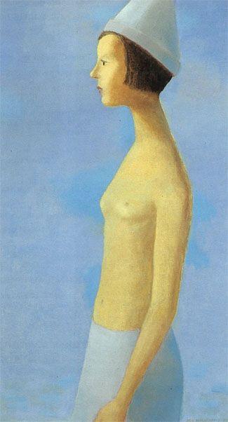 Nu sur fond bleu by Jean Paul Lemieux - 1963