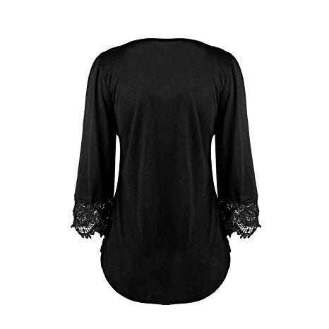 SUNNOW Damen Langarmshirt New Mode Herbst Tops V-Ausschnitt Einfarbig Aufdruck Spitze T-Shirt Locker Faltenbluse: Amazon.de: Bekleidung
