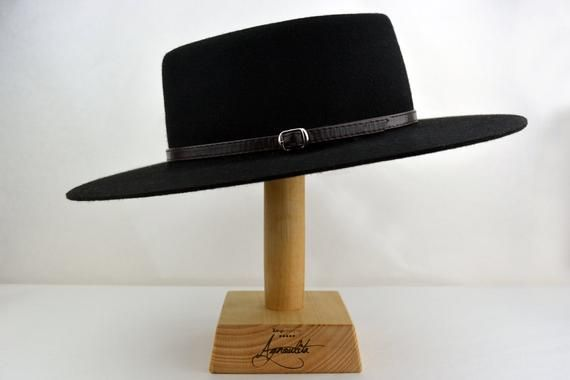 Western hats Chocolate Fur Felt Flat Top Wide Brim Hat Men Women Bolero Hat The JACOBY