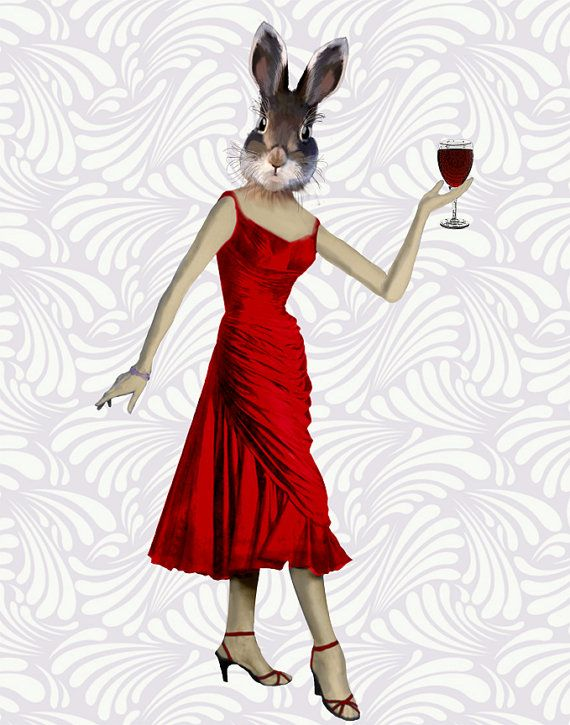 Rabbit Red Dress 8x10 Art Print Illustration Poster by LoopyLolly