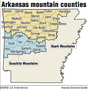 A map showing Arkansas mountain ranges.
