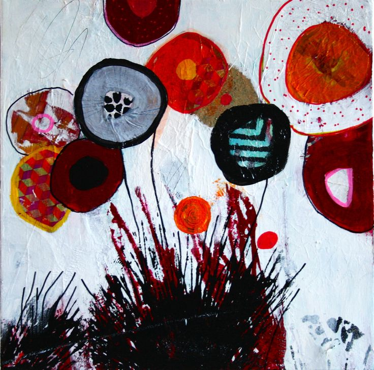 Vilde blomster, akryl, oilpastel, collage, papir, serigrafitryk, kul, blyant, tegning, maleri, galleri www.rieskunstgalleri.dk