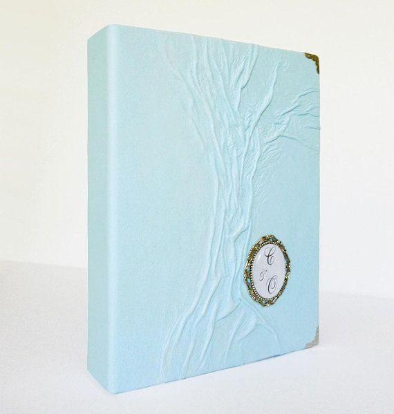 Blue Photo Album Leather Custom Wedding Scrapbook Etsy Wedding Scrapbook Photo Album Anniversary Art