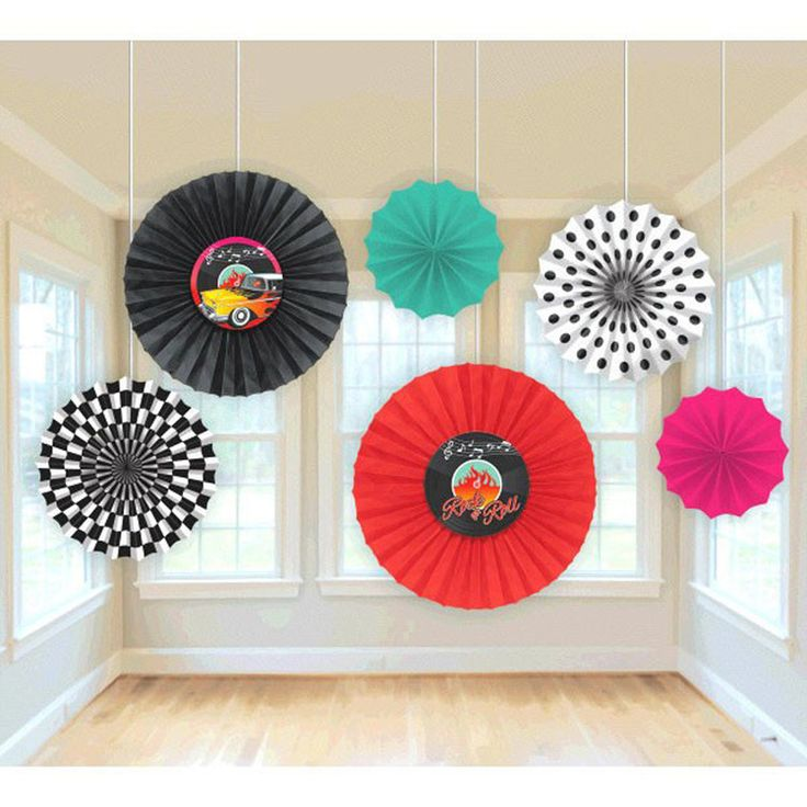 Schön 50s Rock And Roll 6 Piece Paper Fan Party Decoration