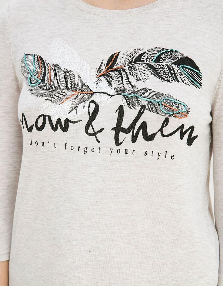 Camiseta BSK estampado plumas - Camisetas - Bershka Mexico