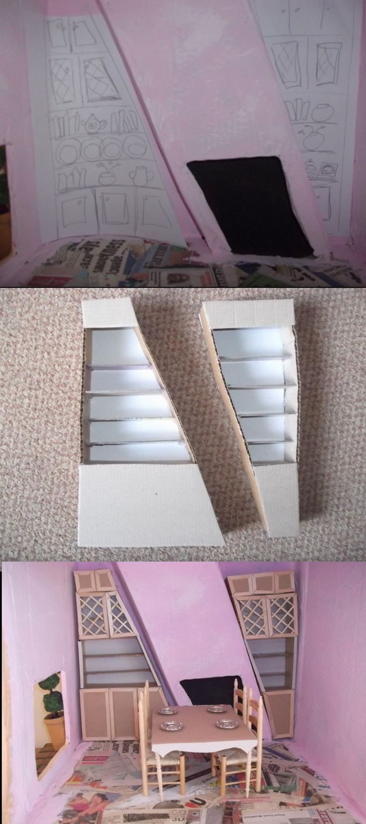 Designing And Constructing The Dining Room Dressers I Used Thick Thin Card Stuck Together
