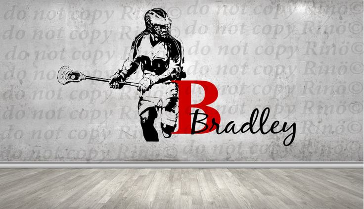 Lacrosse Decals Lax wall decal  - Custom first name Lacrosse Decor - wall art vinyl sticker -  Lacrosse player personalized kids boy bedroom by RINOhomedecor on Etsy