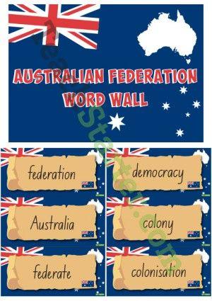 Australian Federation – History Word Wall Vocabulary