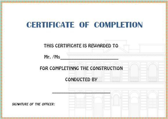 certificate of completion construction templates