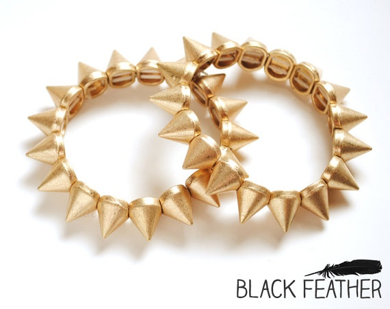Spike Bracelet  Renegade Gold Spike Bracelet by theblackfeather, $22.00