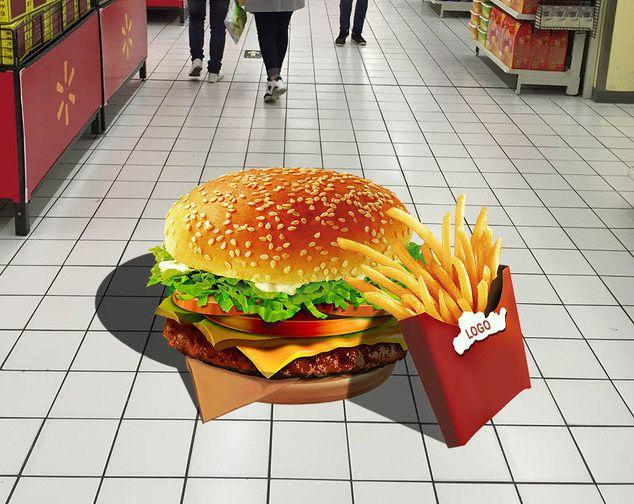 Animation restaurant, magasin - Revêtement sol trompe l'œil 3d - Hamburger