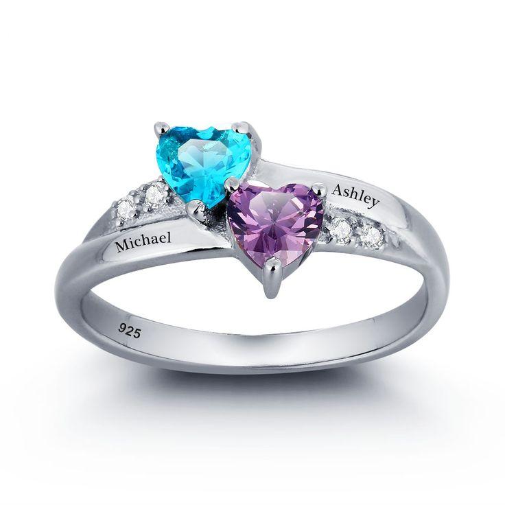 Verjaardagscadeau Aangepaste & Gepersonaliseerde Geboortesteen Ringen Gratis Gegraveerde Promise Hart Ringen Voor Haar 925 Sterling Zilveren Naam Ring