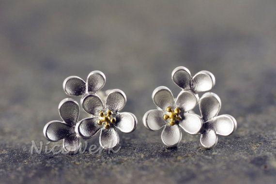 Silber Ohrstecker Blumen Damen Ohrschmuck 925 Ohrringe Stecker