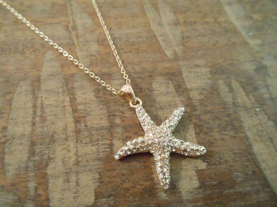 Rhinestone Starfish Necklace - Gold Starfish Necklace - Beach Wedding - Wedding Jewelry