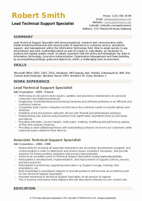 20 It Support Specialist Resume In 2020 With Images It Support Specialist Human Resources Job Resume Samples