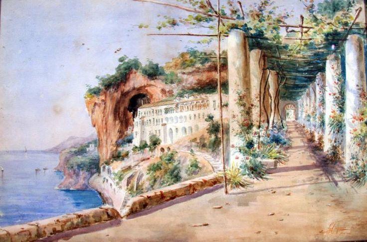 Gaetano Capone, Convento dei Cappuccini ad Amalfi, acquerello su cartone. #arte #dipinti