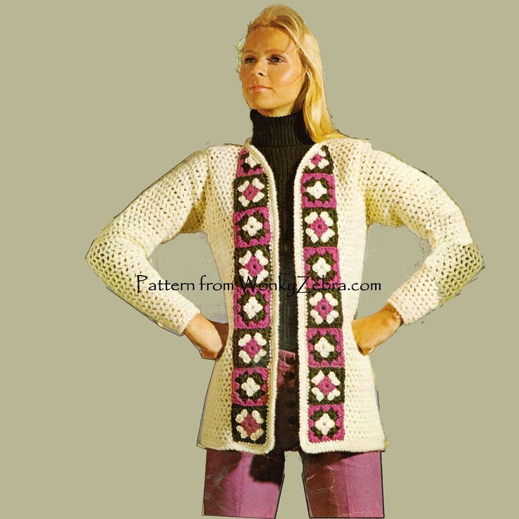 """A crochet pattern for an on treand """"granny square"""" crochet jacket. Not too much granny here-just as a trim. WZ211 from WonkyZebra.com"""