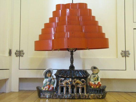 1950's Asian Style TV Lamp, Tv Lamp, Lamp, Venetian Blind Lamp Shade, Venetian Blind, Kitch, Asian, 1950's, Rockabilly, Table Lamp, Ceramic