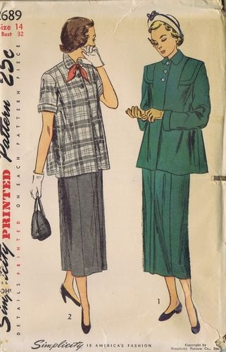 Vintage Maternity Suit 1940s Sewing Pattern 2689 Simplicity Bust 32 Hip 35 Uncut | eBay