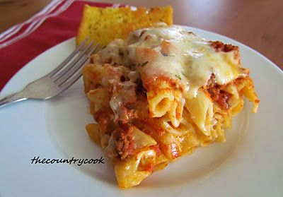 """Baked Ziti which is really baked penne .... 'cause the author has always called it that!  : )  Even though it has an aka I'm going to definitely try this ... like she says """" I'm a sucker for a good pasta dish.""""  And who knows I may use rigatoni (is that the spiral shaped one?)."""