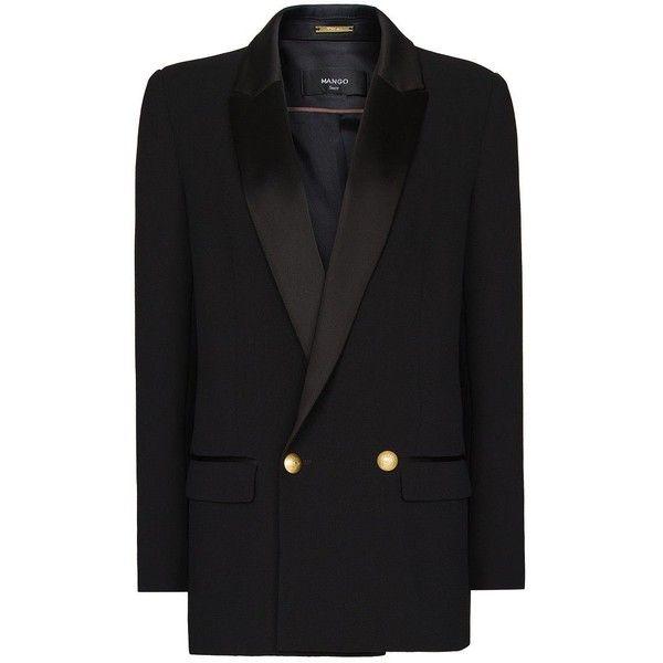Mango Satin lapels masculine cut blazer ($59) ❤ liked on Polyvore featuring outerwear, jackets, blazers, black, coats & jackets, mango jacket, black lapel blazer, black satin blazer, lapel jacket and black satin jacket