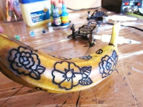 When beginning an apprenticeship, tattooists often practice by tattooing on fruit.