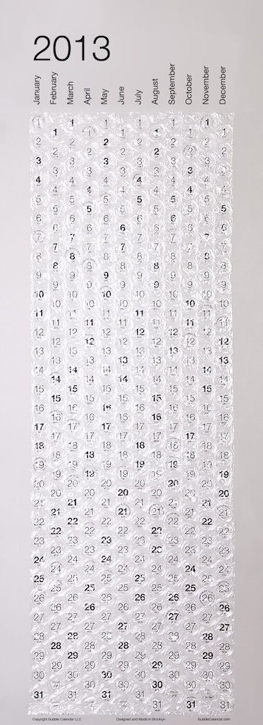 Bubble-Wrap Calendar, $24 | 24 Quirky Calendars To Ring In The New Year