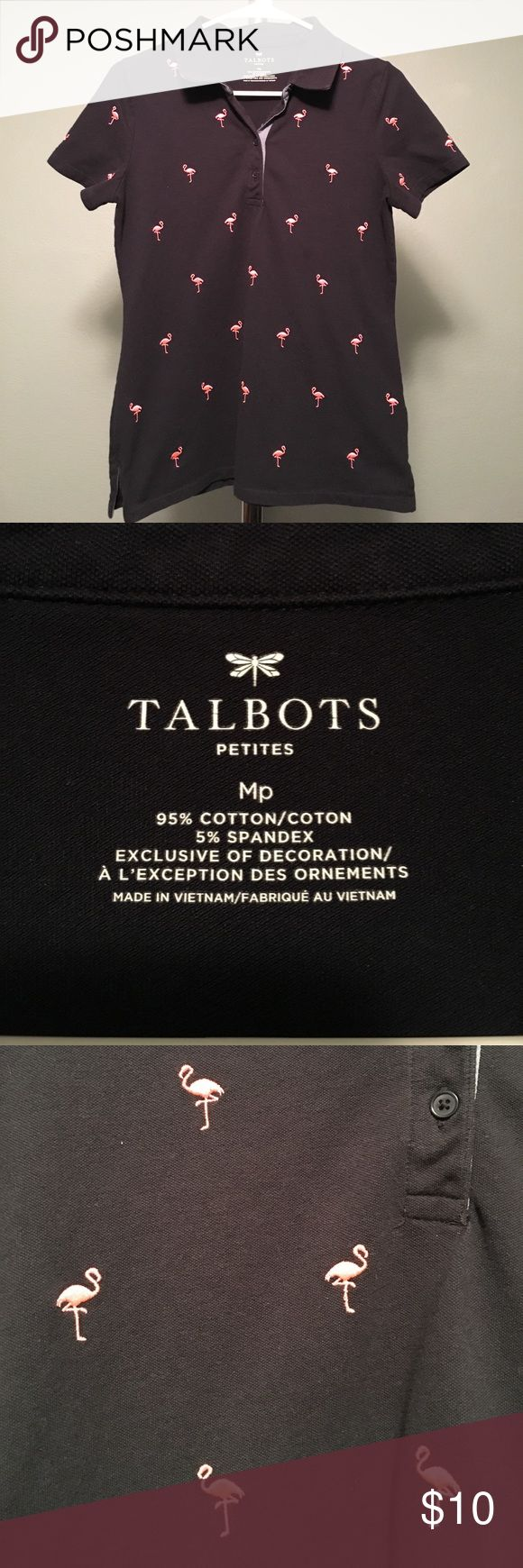 Talbots Pink and Navy Flamingo Polo Collared Shirt This fun polo is from Talbots and is size petite medium. It's navy with pink embroiled flamingos. Worn only a few times. Comes from a smoke and pet free home. Talbots Tops Tees - Short Sleeve