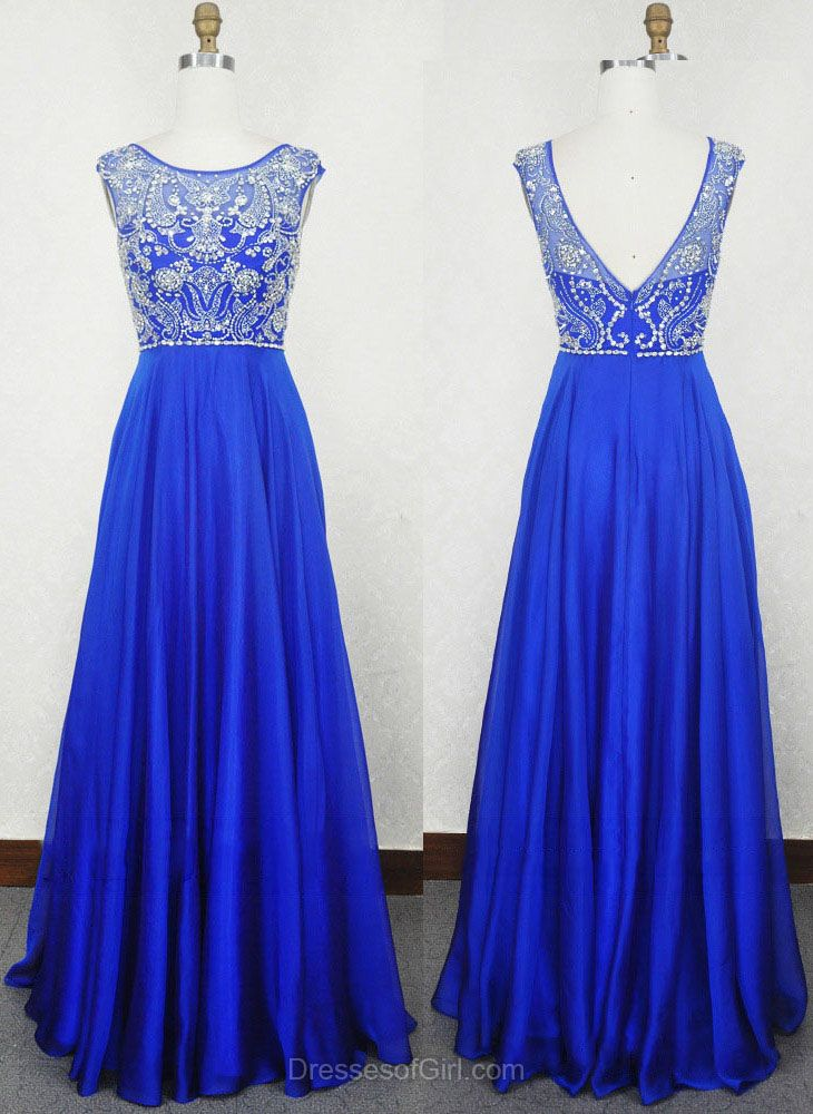 Long Prom Dresses, Low Back Prom Dress, Beaded Evening Dresses, Chiffon Party Dresses, Royal Blue Formal Dresses