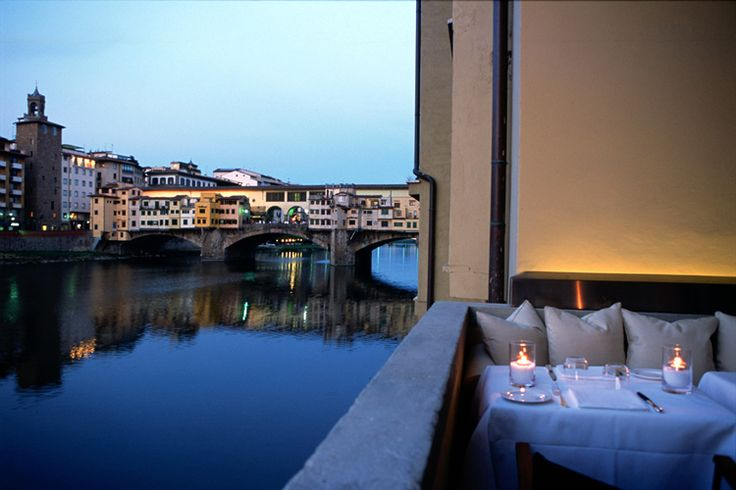 Hotel Lungarno- Florence  The restaurant allows you to sit just above the river and see the Ponteveccio! Gorgeous!!! Florence Hotel Interior Designs