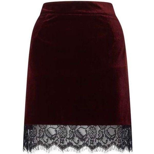 Red Velvet Lace Hem Skirt ($49) ❤ liked on Polyvore featuring skirts, purple lace skirt, miss selfridge, velvet skirt, red lace skirts and knee length lace skirt